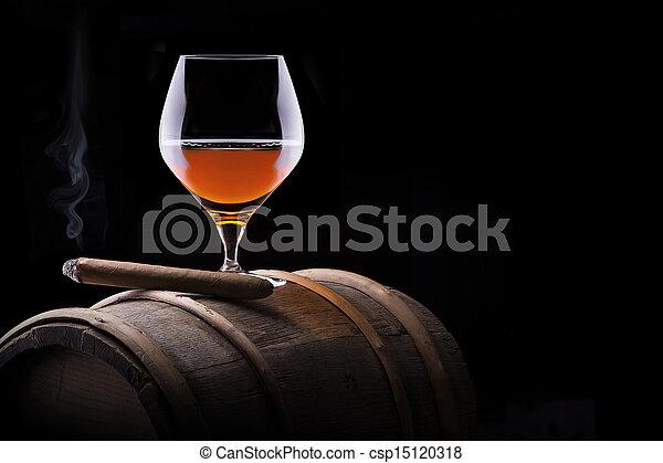Cognac and Cigar on black with vintage barrel - csp15120318