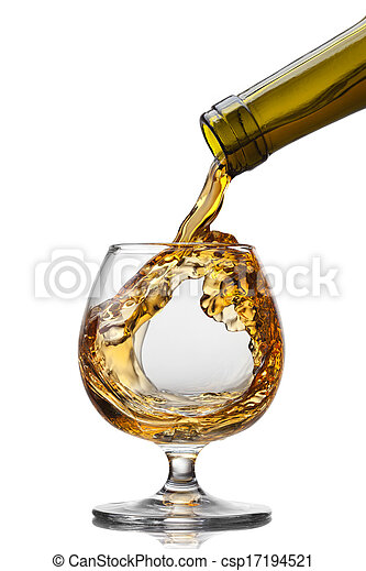 Cognac pouring into glass with splash isolated on white background - csp17194521