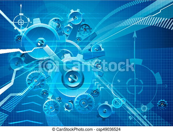 Cogs and Gears Blue Business Background - csp49036524