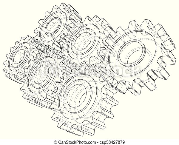 Cogs and gears line drawing