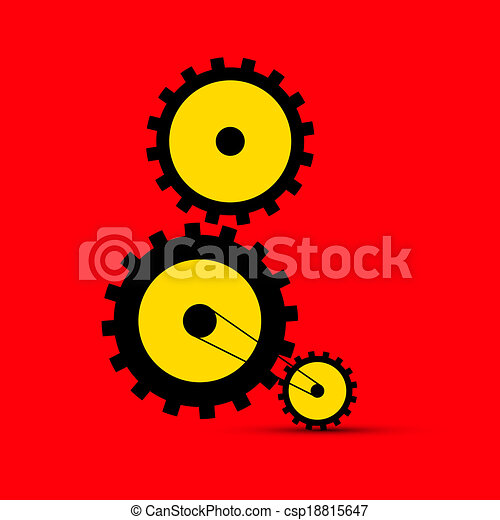 Cogs - Gears Illustration on Red Background - csp18815647