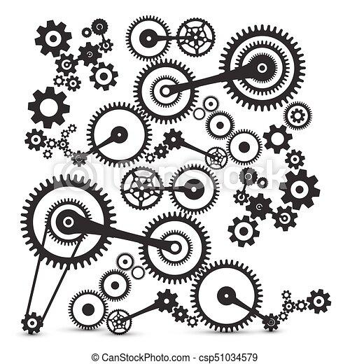 cogs gears retro machinery vector symbol