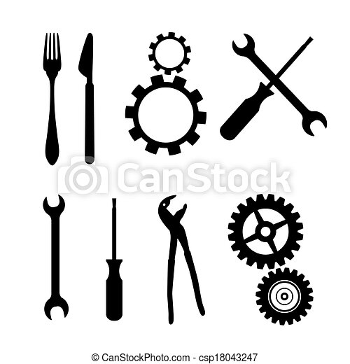 Cogs, Gears, Screwdriver, Pincers, Spanner, Hand Wrench Tools, Knife, Fork - csp18043247