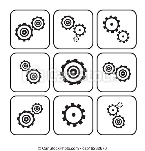 Cogs - Gears Set Illustration Isolated on White Background  - csp19232670
