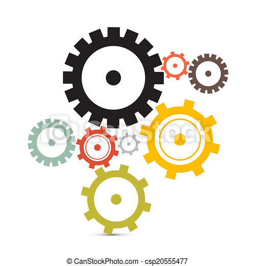 Cogs - Gears Vector Illustration Isolated on White Background - csp20555477