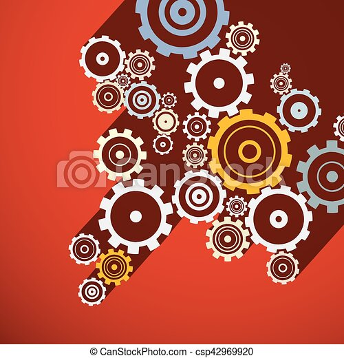 Cogs. Retro Gears Illustration. Vector Paper Clock Parts on Red Background. - csp42969920