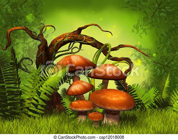 cogumelos, fantasia, floresta - csp12018008