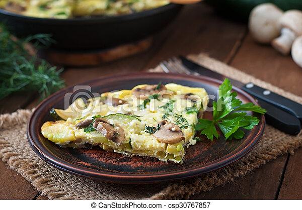 cogumelos, frittata - csp30767857