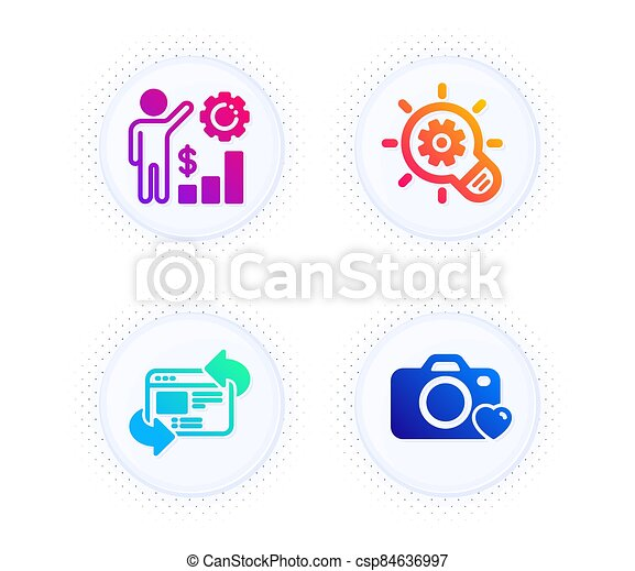 Cogwheel, Employees wealth and Refresh website icons set. Photo camera sign. Vector - csp84636997