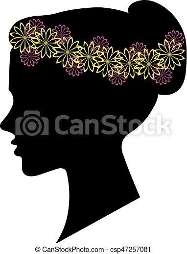 coiffure, femme, silhouette, conception, floral, ton - csp47257081