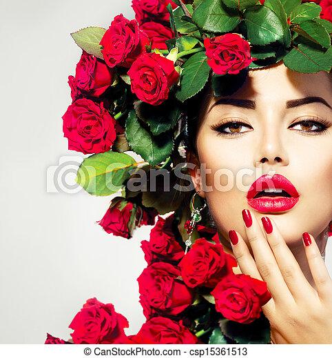 coiffure, girl, mode, beauté, modèle, roses, portrait, rouges - csp15361513