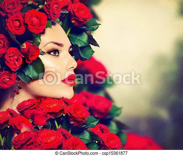 coiffure, girl, mode, beauté, modèle, roses, portrait, rouges - csp15361877
