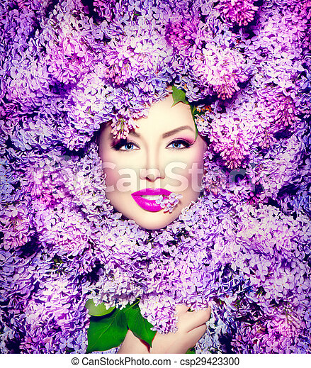 coiffure, mode, beauté, lilas, modèle, fleurs, girl - csp29423300