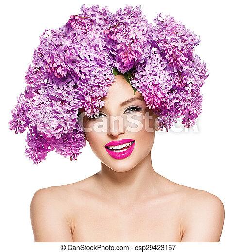 coiffure, mode, beauté, lilas, modèle, fleurs, girl - csp29423167