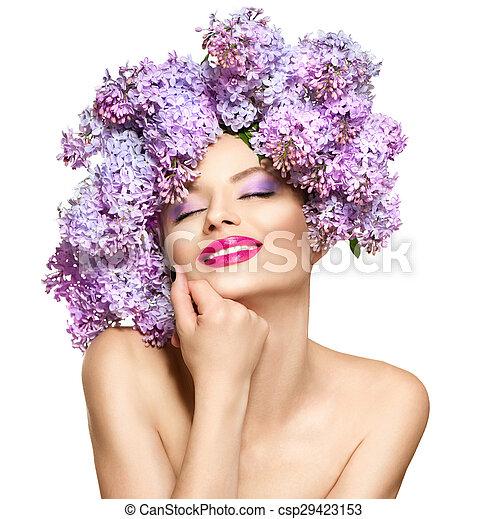 coiffure, mode, beauté, lilas, modèle, fleurs, girl - csp29423153