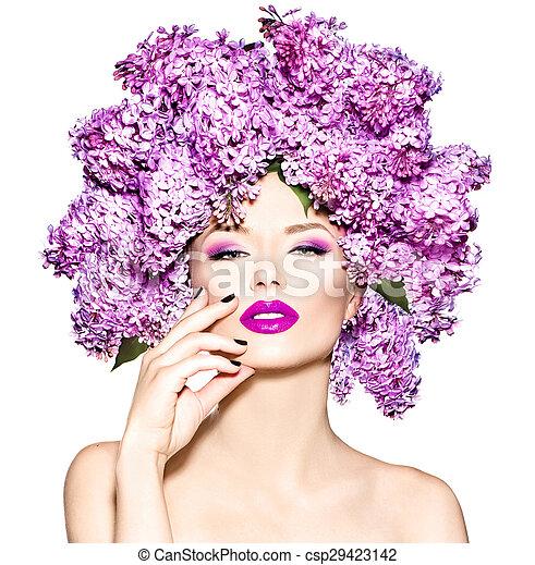 coiffure, mode, beauté, lilas, modèle, fleurs, girl - csp29423142