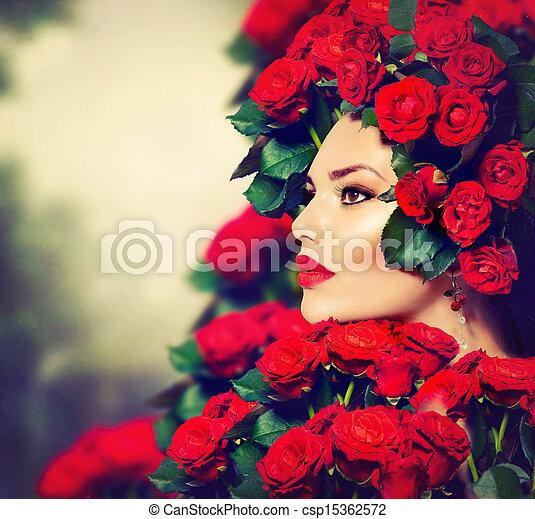 coiffure, mode, beauté, roses, portrait, modèle, girl, rouges - csp15362572