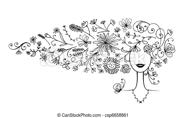 coiffure, silhouette, conception, femme, floral, ton - csp6658861