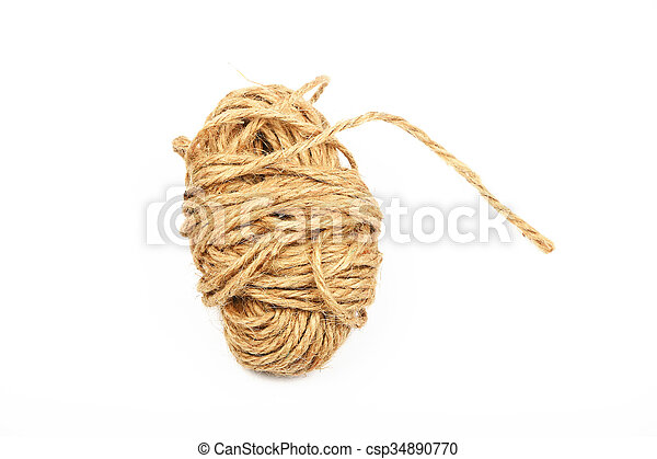 Coil bobbin of burlap jute rope over white