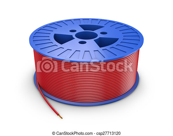 Coil electric wire. Blue plastic coil with red wire, 3d render.
