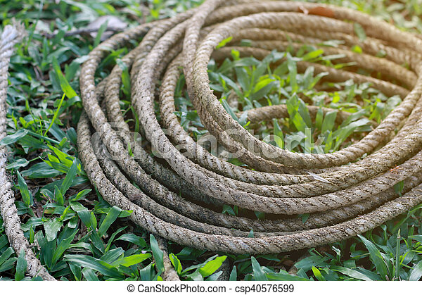 Coiled roll of rope arranged on grass ground with sunlight - csp40576599