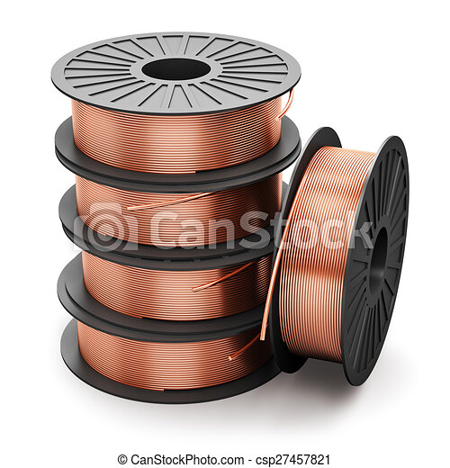 Coils of copper wires. Creative abstract heavy non-ferrous... clip ...