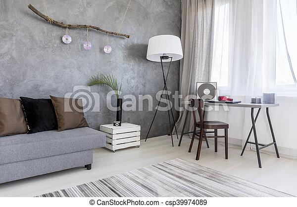 coin, appartement, contemporain, élégant