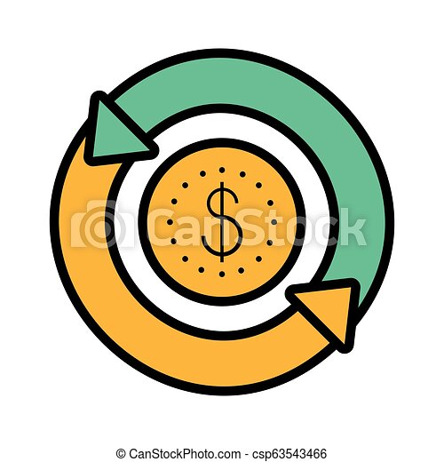 coin dollar with arrows in circle - csp63543466
