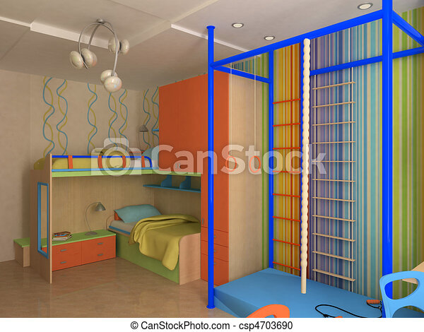 Coin, meubles, enfant, coloré, chambre à coucher. Meubles, coloré ...