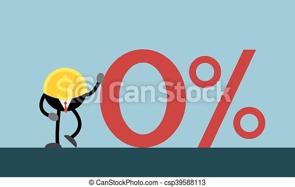 Line Art Zero : Coin money lean on red zero percent businessman