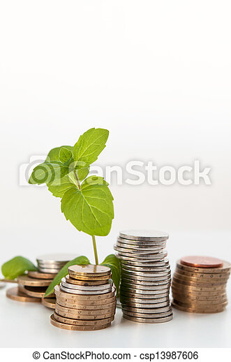 coin money with green plant growing, financial concept - csp13987606