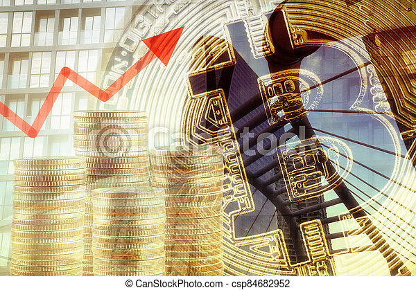 Coin of bitcoin and money stacked bar graph with Double Exposure. - csp84682952