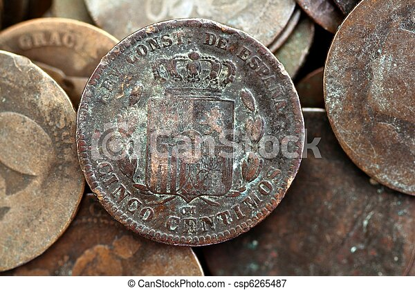 coin peseta real old spain republic 1937 currency and cents - csp6265487
