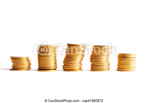 Coin stacks on a white background - csp41880872