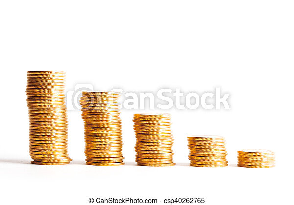 Coin stacks on a white background - csp40262765