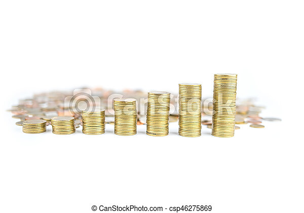 Coin stacks on a white background - csp46275869