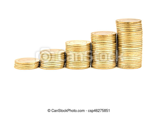 Coin stacks on a white background - csp46275851