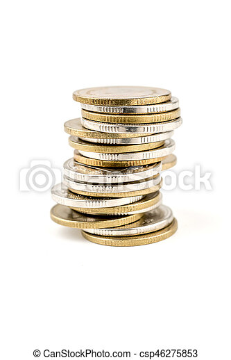 Coin stacks on a white background - csp46275853