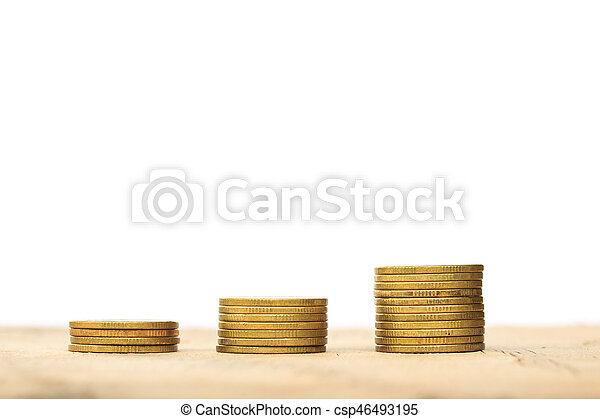 Coin stacks on a white background - csp46493195