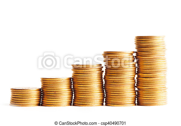 Coin stacks on a white background - csp40490701