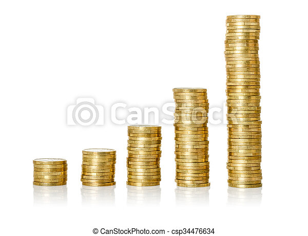 Coin stacks on a white background - csp34476634