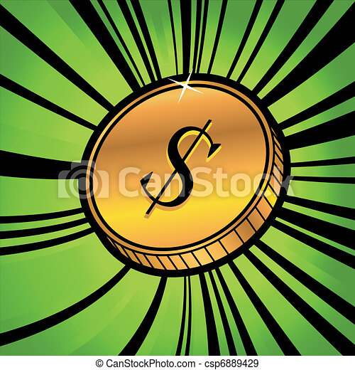 coin with symbol of us dollar currency - csp6889429