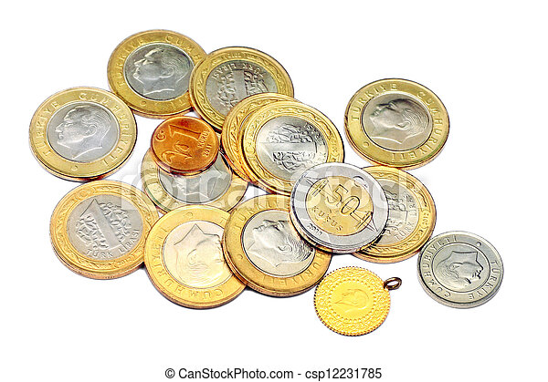 Coins and a gold - csp12231785
