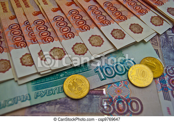 Coins and different banknotes - csp9769647