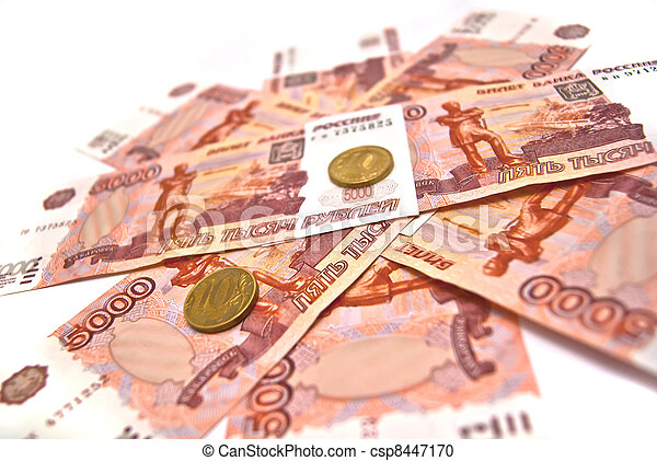Coins and five thousand rubles banknotes - csp8447170