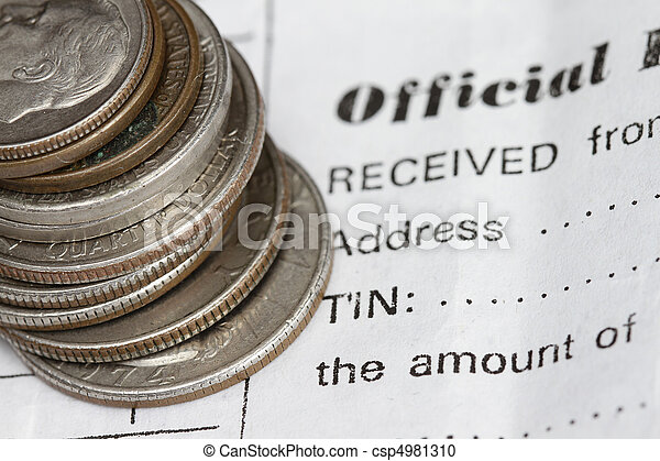 Coins and official receipt - csp4981310