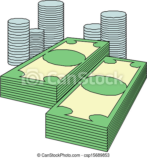 Coins and paper money clipart vector search illustration for Buy blueprint paper
