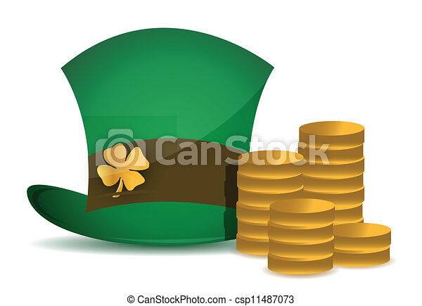 coins and saint patricks hat - csp11487073