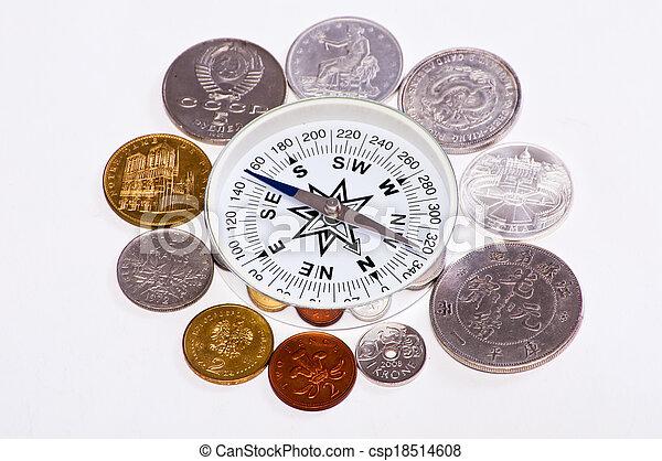coins around the compass - csp18514608