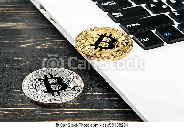 Coins bitcoin with laptop - csp58108231